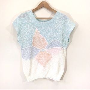Vintage 80s Pastel Knit Floral Cap Sleeve Sweater